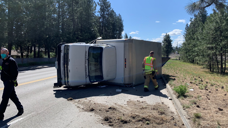 Driver in a stolen vehicle crashes into box truck in Spokane Valley Friday