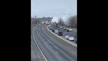 WSP: Semi collision, fire blocks EB lanes of I-90 near Moses Lake