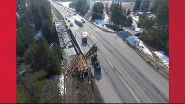 Logging truck crash closes northbound US 95 near Sandpoint