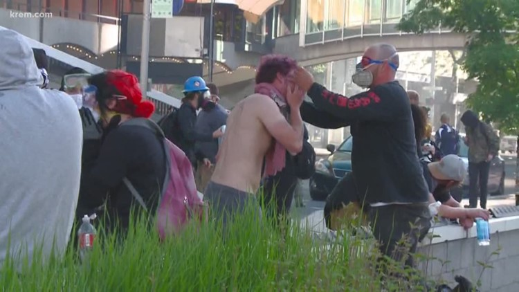 Tear gas deployed in Spokane Protests