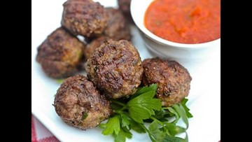 Tom's BBQ Forecast: Grilled meatballs with marinara