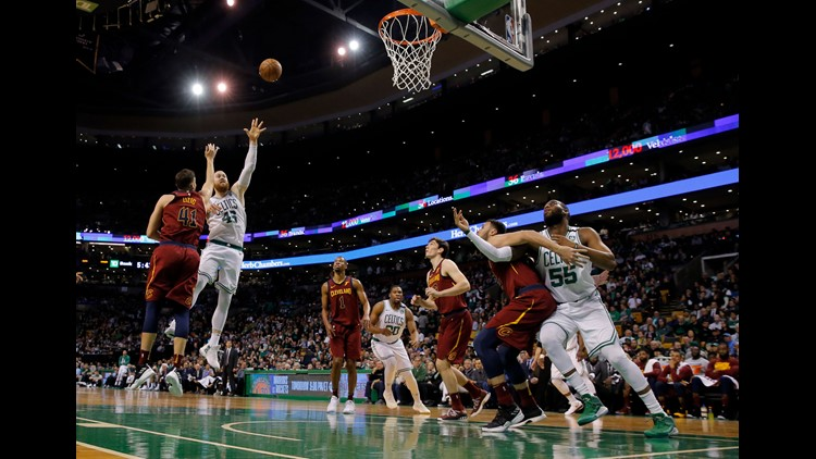 May 13, 2018; Boston, MA, USA; Aron Baynes (46) attempts a basket against Cleveland during the fourth quarter in game one of the Eastern conference finals of the 2018 NBA Playoffs at TD Garden. Mandatory Credit: David Butler II-USA TODAY Sports