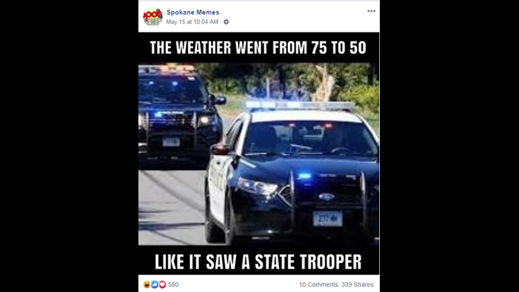 state trooper weather meme