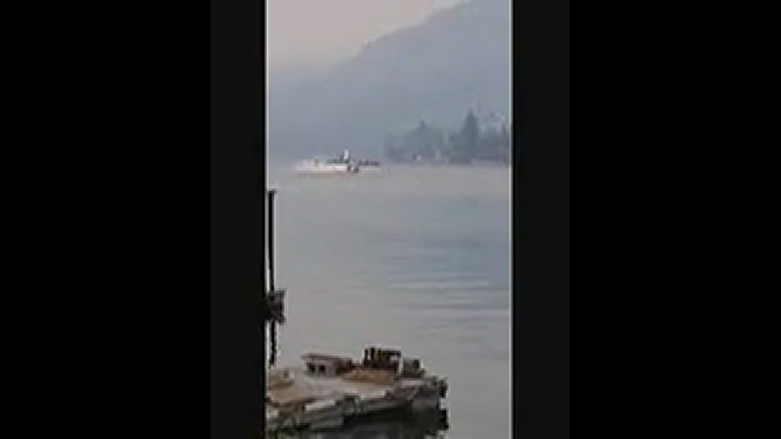 Boaters should use caution and stay close to shore allowing fire planes using Pend Orielle river as runway to pick up water