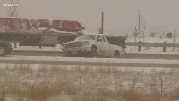 Truck in median in Liberty Lake