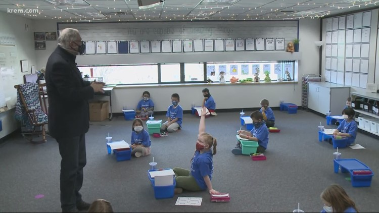 Gov. Inslee visits Spokane's Stevens Elementary for in-person learning check-in