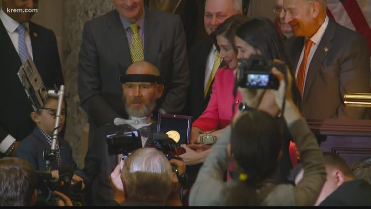 'Our problems are our opportunities': Spokane native Steve Gleason receives Congressional Gold Medal