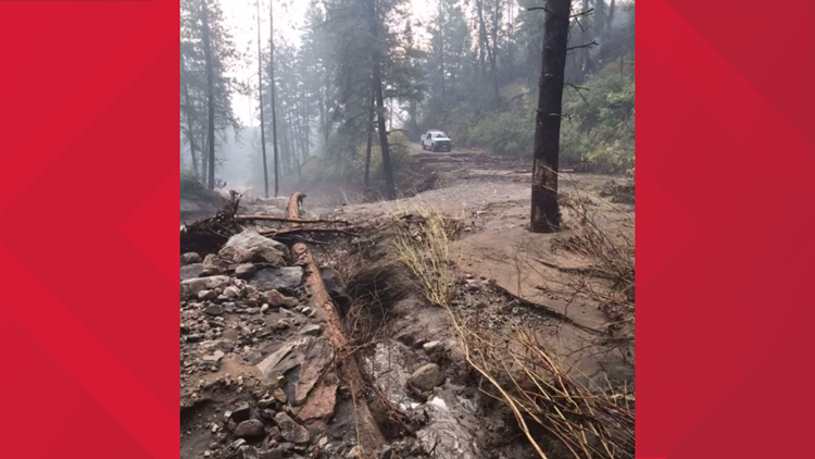 Damage from flash flooding at the Williams Flats Fire