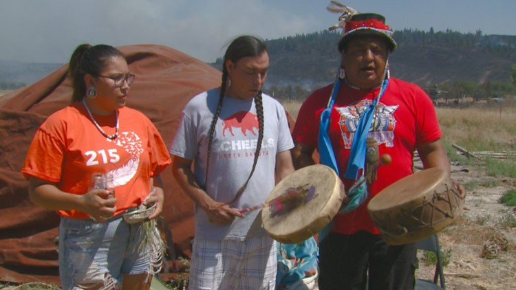 'We really thought this place was going to be lost': Members of the Colville Confederated Tribe pray for their community