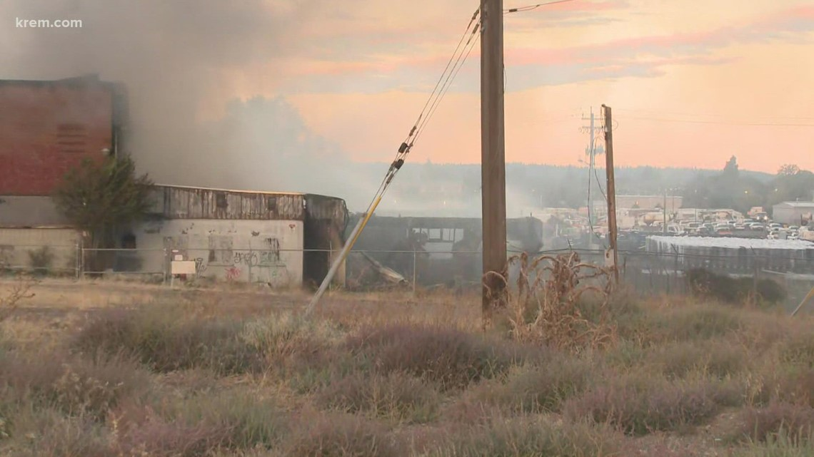 'Dangerous building' in east Spokane catches fire, investigators work to determine cause