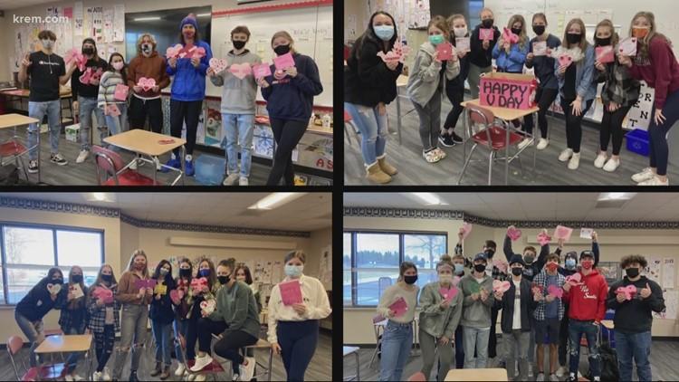 Mt. Spokane High School students make valentines for Spokane Veterans Home residents