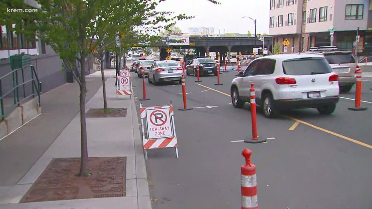 Troopers say downtown construction caused backups and crashes