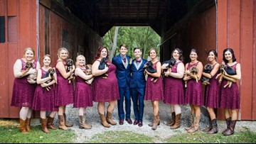 Forget flowers, Ill. couple uses adoptable puppies for wedding bouquets