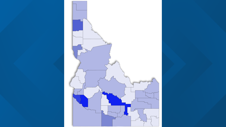 Interactive map and timelines tracking COVID-19 numbers and trends in Idaho