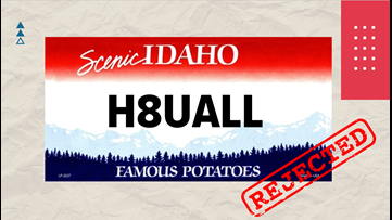 'H8UALL': List of rejected Idaho vanity plates in 2019