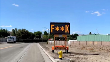 Traffic sign in Tracy told drivers to 'Slow the F**k Down'