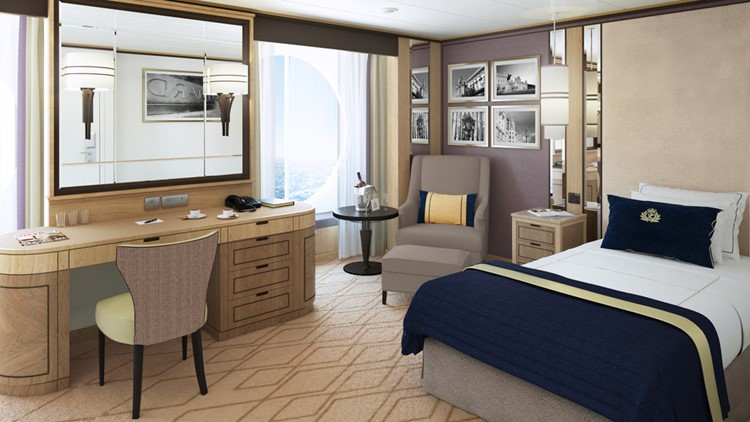 Solo cabin on Queen Mary 2 is spacious and luxurious. (Photo courtesy of Cunard)