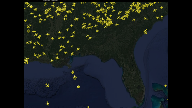 A FlightRadar24 tracking map reveals that there isn't a plane inthe sky over Florida.