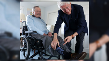 Nation's 41st, 42nd presidents share a moment in Maine
