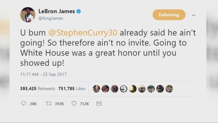 0748120d7807 LeBron James calls President Trump a  bum  for rescinding Golden State  Warriors  White House invite